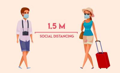 時刻佩戴口罩 · 保持社交距離